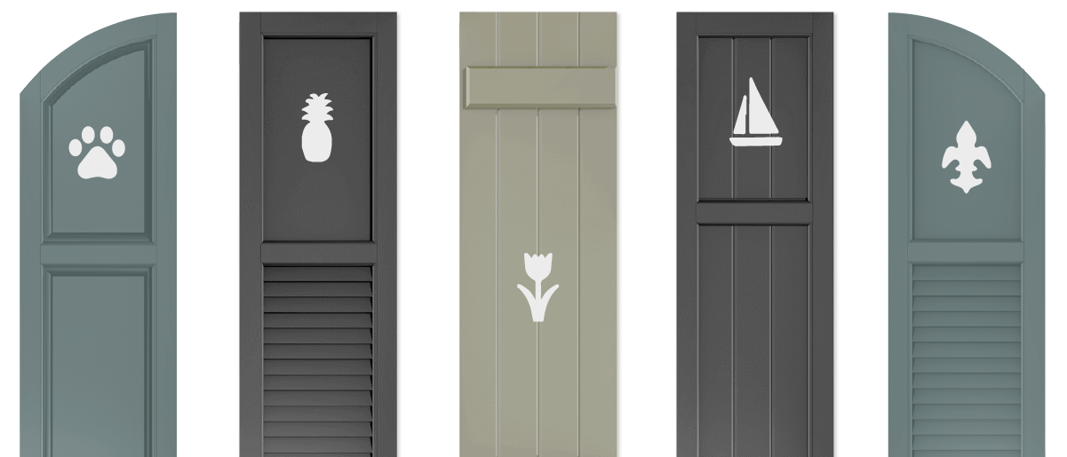 Adorned Openings offers multiple shutter cutout designs for all exterior shutters including arch top shutters